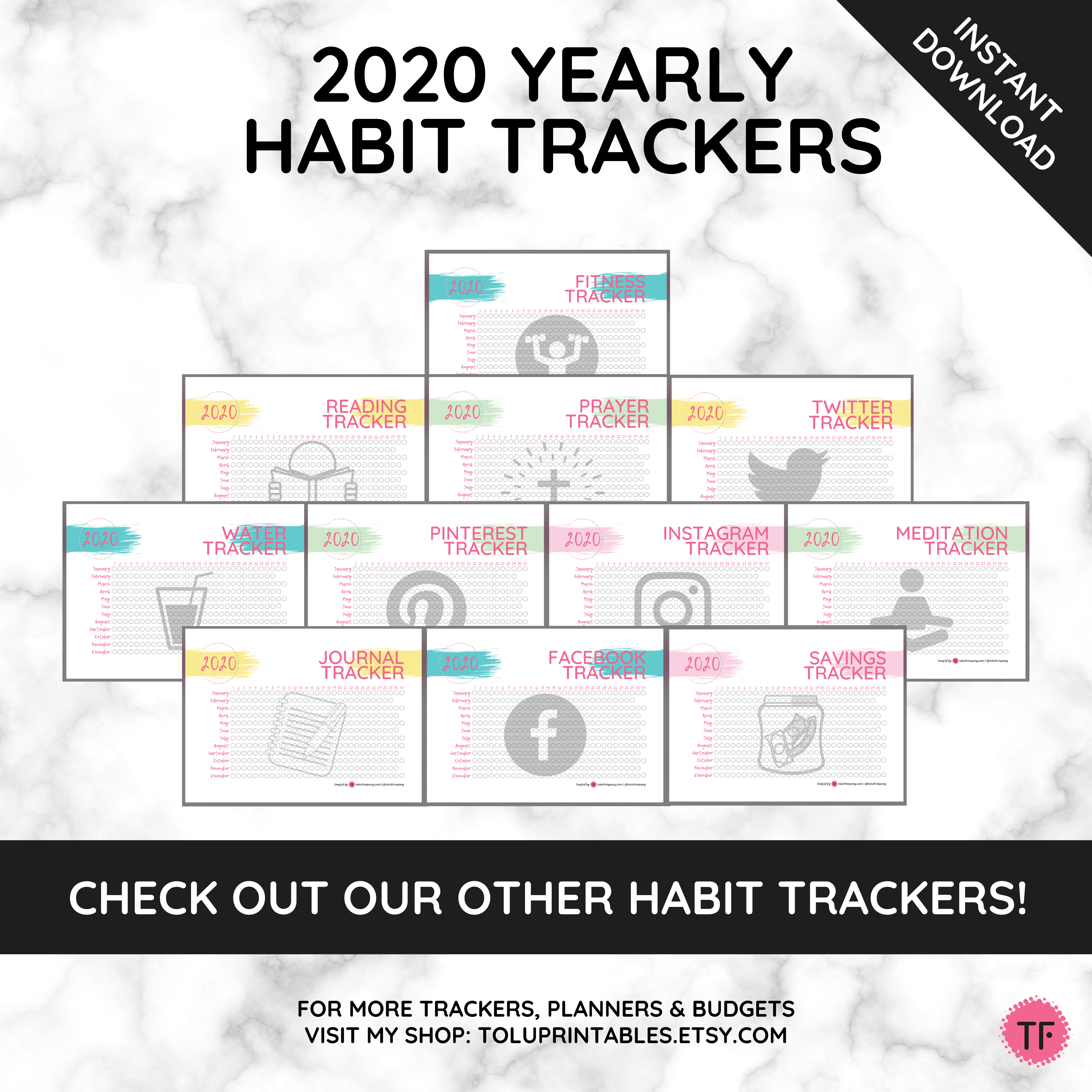 2020 Yearly Daily Exercise Habit Tracker for Planners and Bullet Journalling